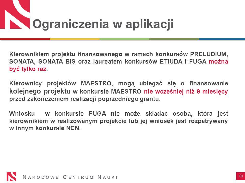 Ograniczenia w aplikacji 10 Kierownikiem projektu finansowanego w ramach konkursów PRELUDIUM, SONATA, SONATA BIS oraz laureatem konkursów ETIUDA i FUGA można być tylko raz.