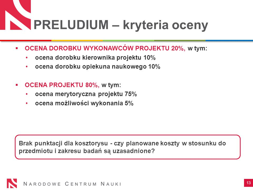 PRELUDIUM – kryteria oceny 13  OCENA DOROBKU WYKONAWCÓW PROJEKTU 20%, w tym: ocena dorobku kierownika projektu 10% ocena dorobku opiekuna naukowego 10%  OCENA PROJEKTU 80%, w tym: ocena merytoryczna projektu 75% ocena możliwości wykonania 5% Brak punktacji dla kosztorysu - czy planowane koszty w stosunku do przedmiotu i zakresu badań są uzasadnione
