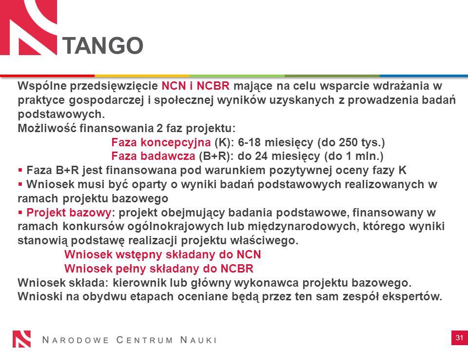 31 TANGO Wspólne przedsięwzięcie NCN i NCBR mające na celu wsparcie wdrażania w praktyce gospodarczej i społecznej wyników uzyskanych z prowadzenia badań podstawowych.