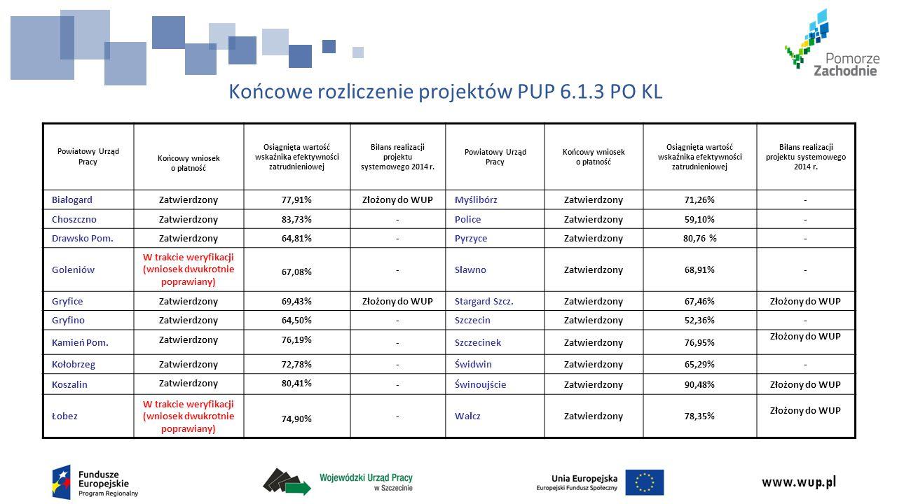 www.wup.pl Końcowe rozliczenie projektów PUP 6.1.3 PO KL Powiatowy Urząd Pracy Końcowy wniosek o płatność Osiągnięta wartość wskaźnika efektywności zatrudnieniowej Bilans realizacji projektu systemowego 2014 r.