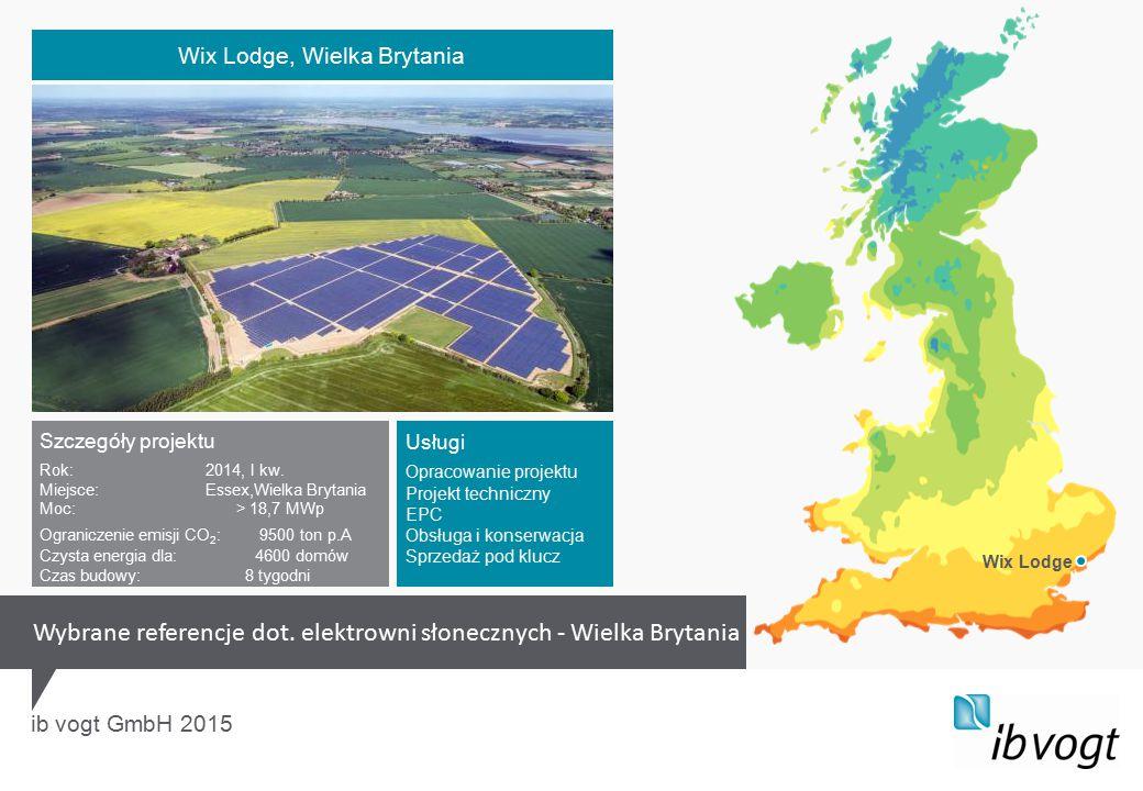 ib vogt GmbH 2015 Szczegóły projektu Rok:2014, I kw. Miejsce:Essex,Wielka Brytania Moc: > 18,7 MWp Ograniczenie emisji CO 2 : 9500 ton p.A Czysta ener