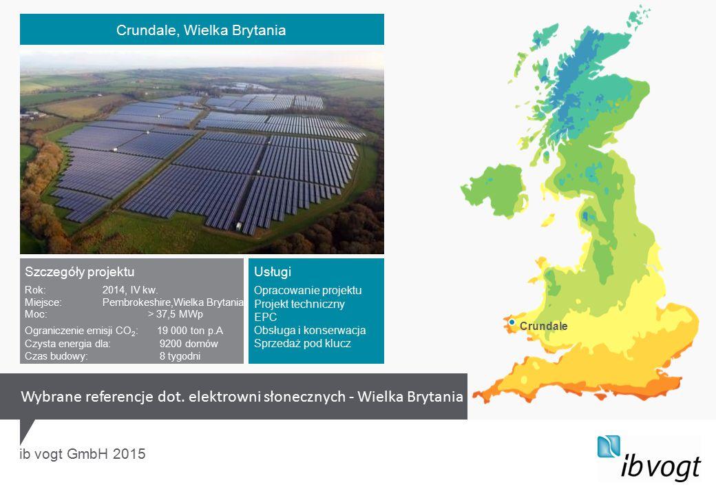 ib vogt GmbH 2015 Szczegóły projektu Rok:2014, IV kw. Miejsce:Pembrokeshire,Wielka Brytania Moc: > 37,5 MWp Ograniczenie emisji CO 2 :19 000 ton p.A C