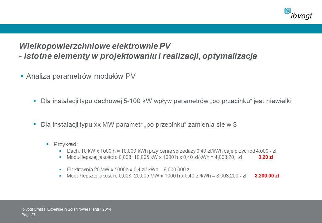 ib vogt GmbH | Expertise in Solar Power Plants | 2014 Page 27 Wielkopowierzchniowe elektrownie PV - istotne elementy w projektowaniu i realizacji, opt
