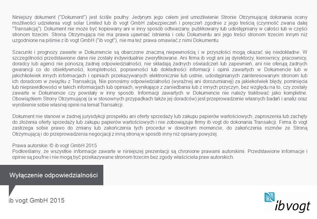 ib vogt GmbH 2015 Niniejszy dokument ( Dokument ) jest ściśle poufny.