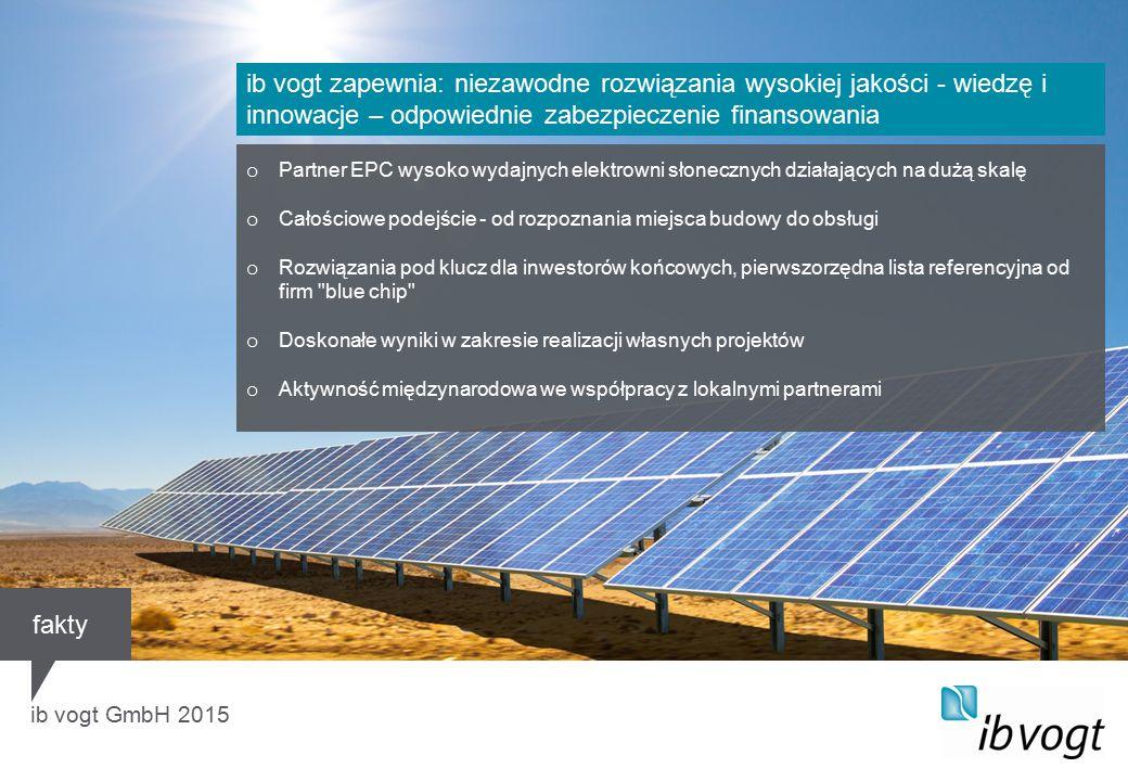 ib vogt GmbH 2015 o Partner EPC wysoko wydajnych elektrowni słonecznych działających na dużą skalę o Całościowe podejście - od rozpoznania miejsca budowy do obsługi o Rozwiązania pod klucz dla inwestorów końcowych, pierwszorzędna lista referencyjna od firm blue chip o Doskonałe wyniki w zakresie realizacji własnych projektów o Aktywność międzynarodowa we współpracy z lokalnymi partnerami ib vogt zapewnia: niezawodne rozwiązania wysokiej jakości - wiedzę i innowacje – odpowiednie zabezpieczenie finansowania fakty