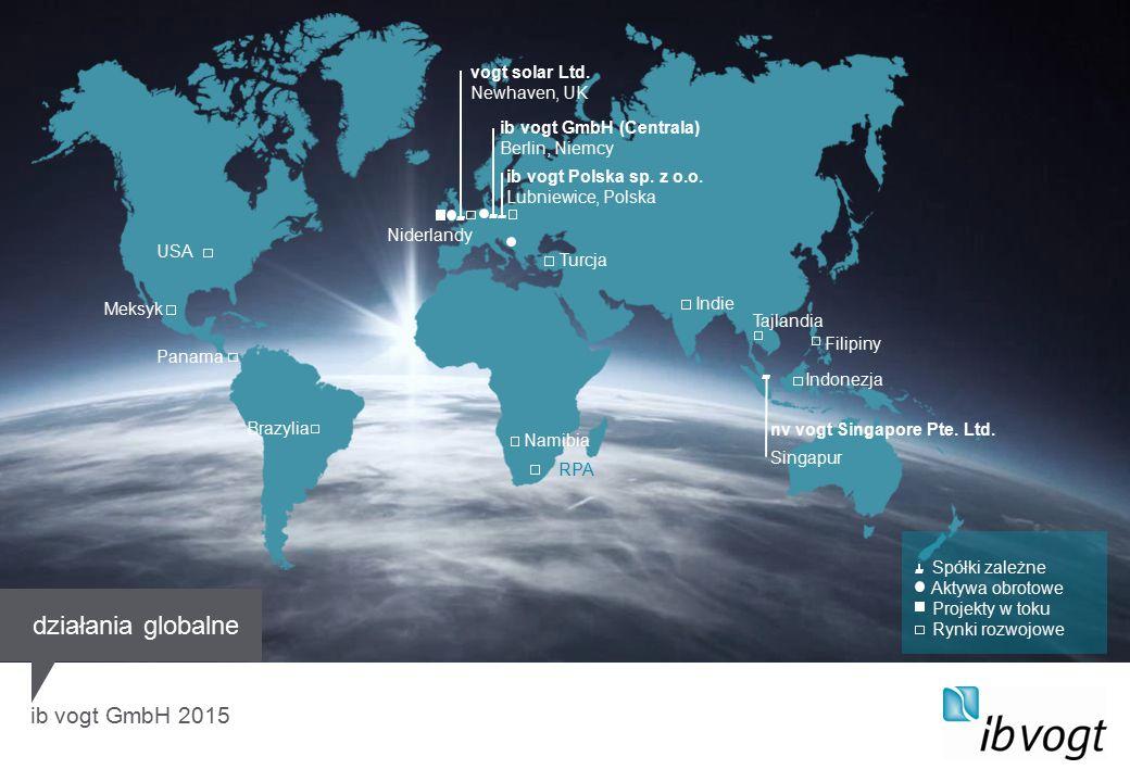 ib vogt GmbH 2015 vogt solar Ltd. Newhaven, UK ib vogt GmbH (Centrala) Berlin, Niemcy Filipiny ib vogt Polska sp. z o.o. Lubniewice, Polska Spółki zal