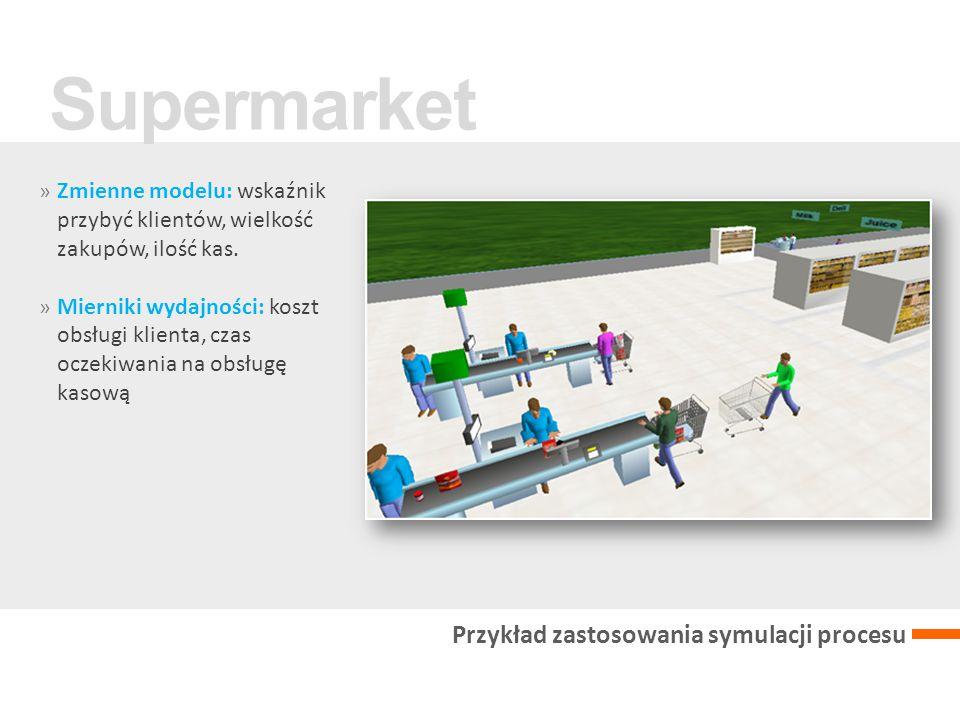 » Zmienne modelu: wskaźnik przybyć klientów, wielkość zakupów, ilość kas.