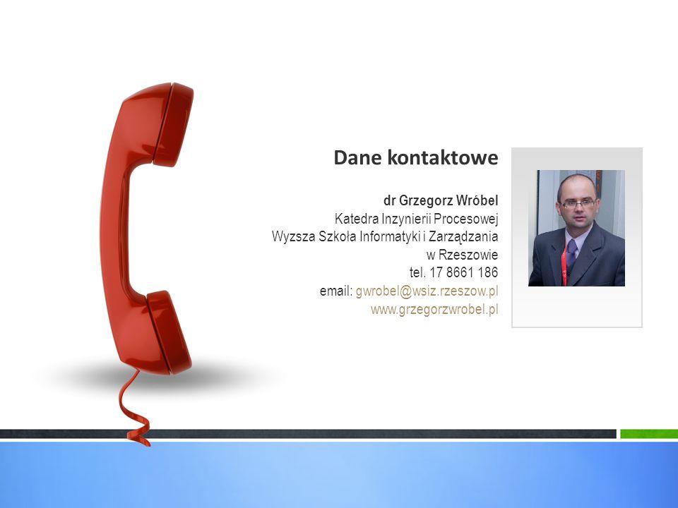 Dane kontaktowe dr Grzegorz Wróbel Katedra Inzynierii Procesowej Wyzsza Szkoła Informatyki i Zarządzania w Rzeszowie tel.