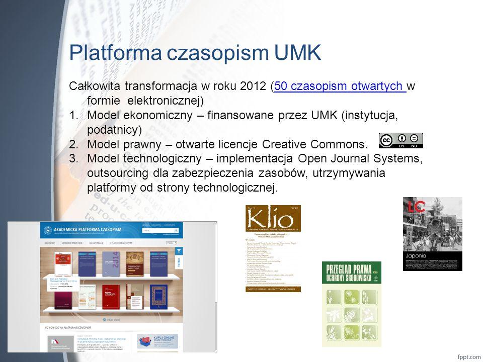 Platforma czasopism UMK Całkowita transformacja w roku 2012 (50 czasopism otwartych w formie elektronicznej)50 czasopism otwartych 1.Model ekonomiczny – finansowane przez UMK (instytucja, podatnicy) 2.Model prawny – otwarte licencje Creative Commons.
