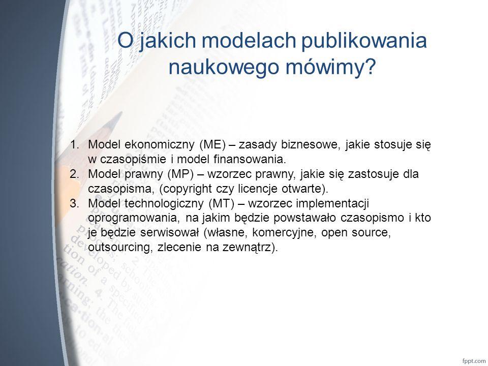 O jakich modelach publikowania naukowego mówimy.