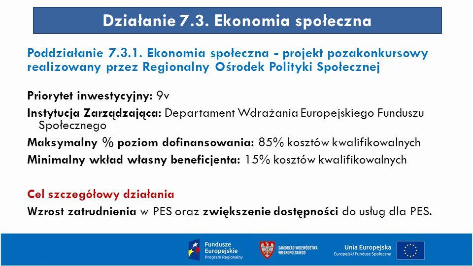 Działanie 7.3.Ekonomia społeczna Poddziałanie 7.3.1.
