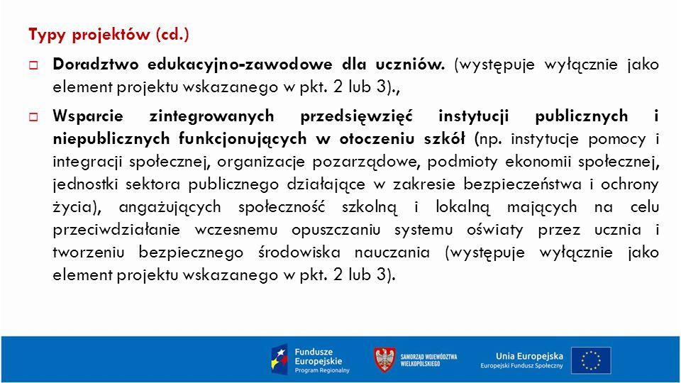 Typy projektów (cd.)  Doradztwo edukacyjno-zawodowe dla uczniów.