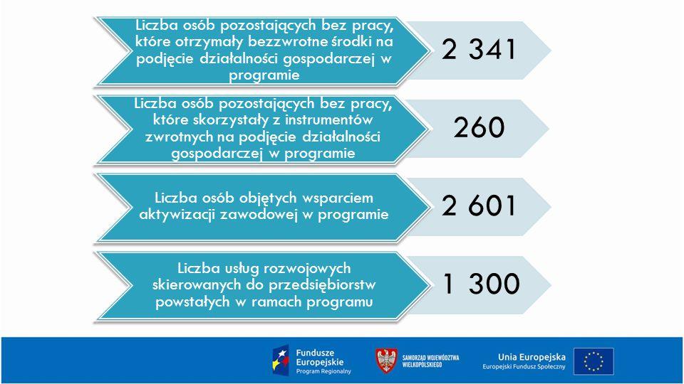 Liczba osób pozostających bez pracy, które otrzymały bezzwrotne środki na podjęcie działalności gospodarczej w programie 2 341 Liczba osób pozostających bez pracy, które skorzystały z instrumentów zwrotnych na podjęcie działalności gospodarczej w programie 260 Liczba osób objętych wsparciem aktywizacji zawodowej w programie 2 601 Liczba usług rozwojowych skierowanych do przedsiębiorstw powstałych w ramach programu 1 300
