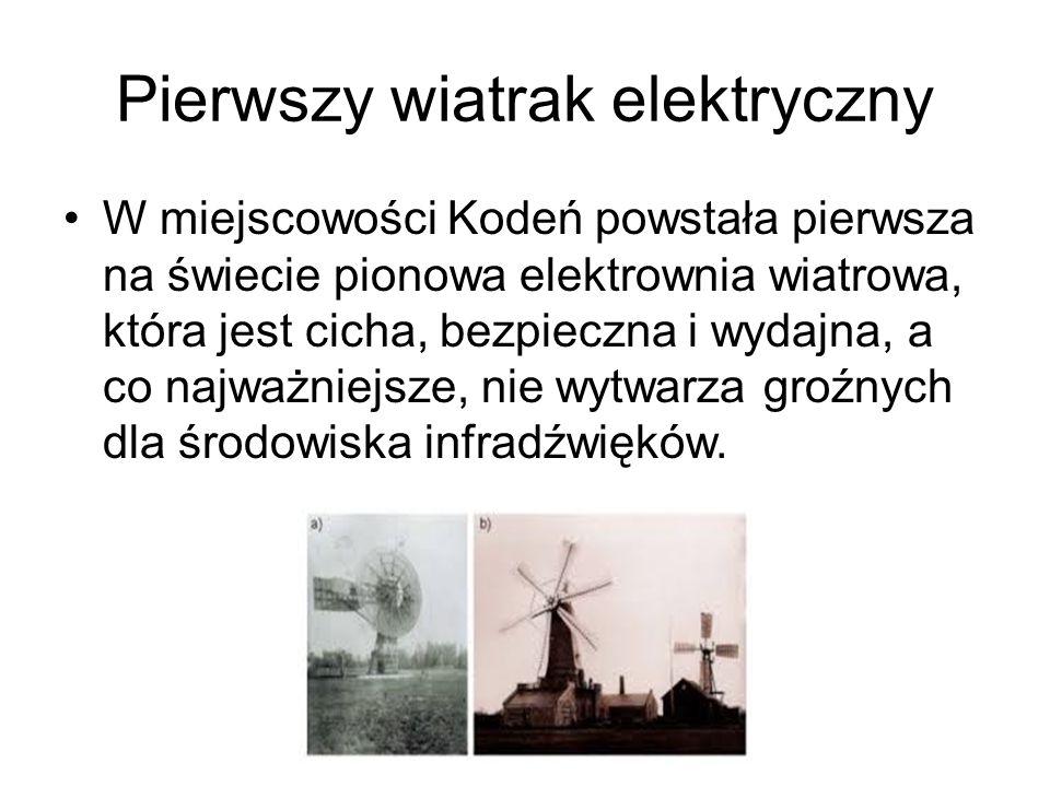 Pierwszy wiatrak elektryczny W miejscowości Kodeń powstała pierwsza na świecie pionowa elektrownia wiatrowa, która jest cicha, bezpieczna i wydajna, a