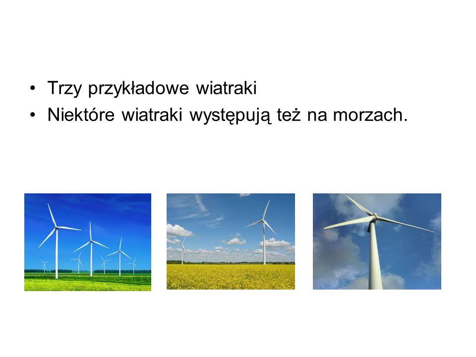 Trzy przykładowe wiatraki Niektóre wiatraki występują też na morzach.
