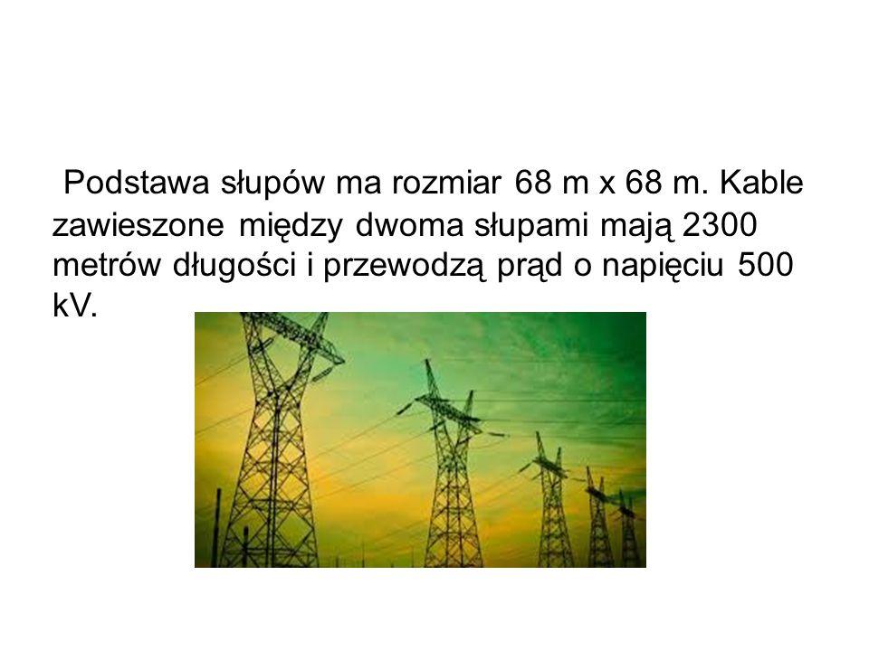 Podstawa słupów ma rozmiar 68 m x 68 m. Kable zawieszone między dwoma słupami mają 2300 metrów długości i przewodzą prąd o napięciu 500 kV.