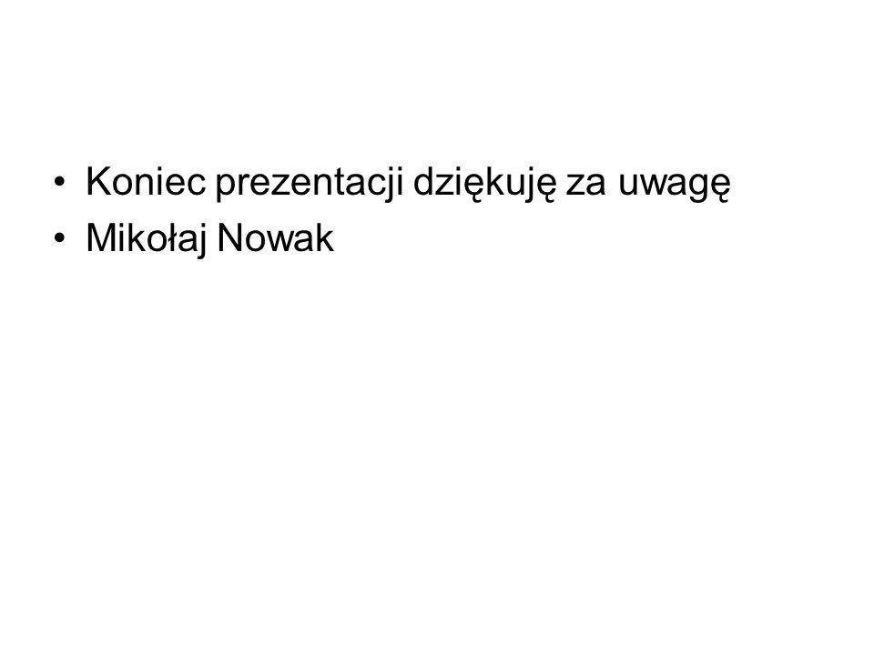 Koniec prezentacji dziękuję za uwagę Mikołaj Nowak