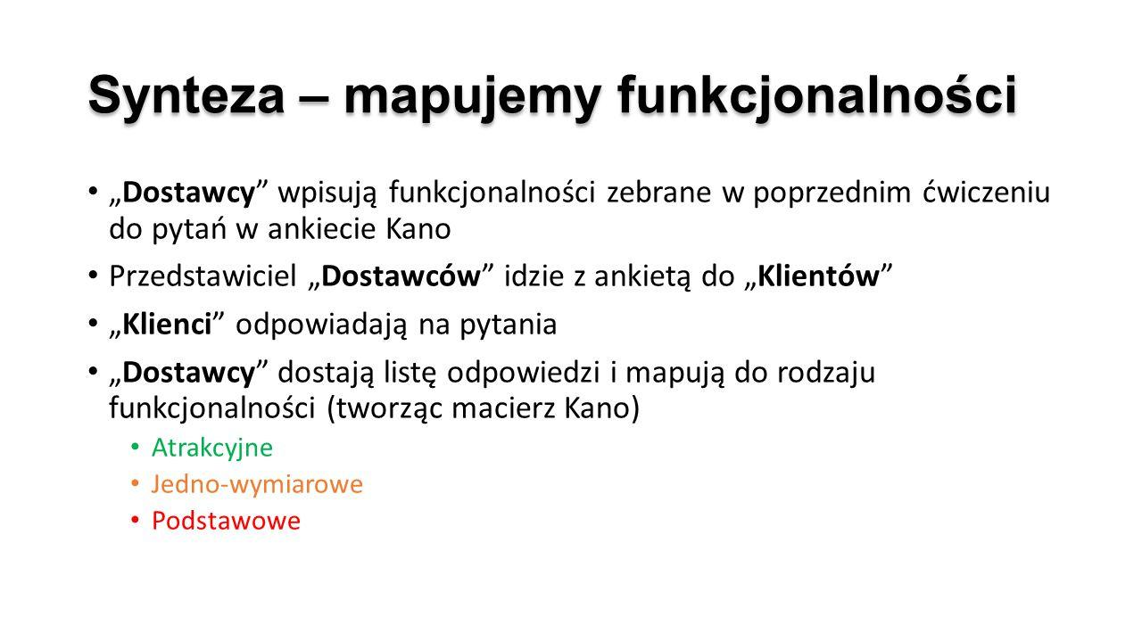 """Synteza – mapujemy funkcjonalności """"Dostawcy"""" wpisują funkcjonalności zebrane w poprzednim ćwiczeniu do pytań w ankiecie Kano Przedstawiciel """"Dostawcó"""