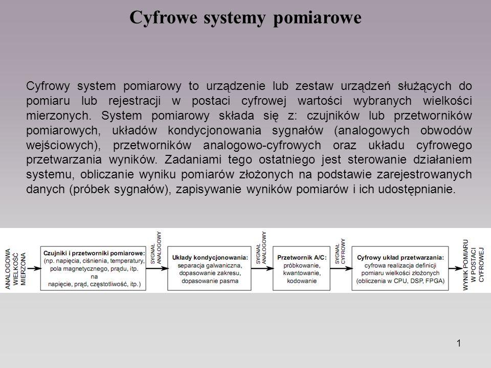 1 Cyfrowe systemy pomiarowe Cyfrowy system pomiarowy to urządzenie lub zestaw urządzeń służących do pomiaru lub rejestracji w postaci cyfrowej wartośc