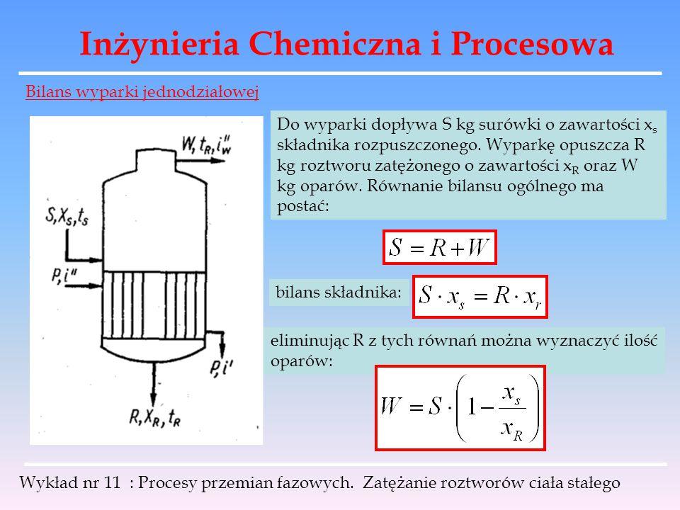 Inżynieria Chemiczna i Procesowa Wykład nr 11 : Procesy przemian fazowych. Zatężanie roztworów ciała stałego Do wyparki dopływa S kg surówki o zawarto