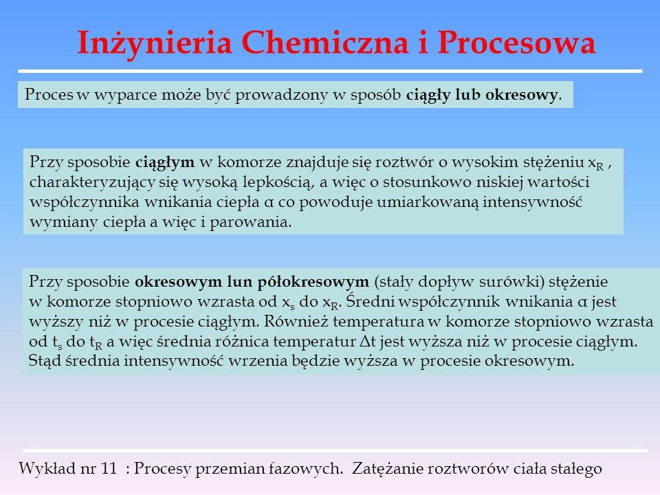 Inżynieria Chemiczna i Procesowa Wykład nr 11 : Procesy przemian fazowych. Zatężanie roztworów ciała stałego Proces w wyparce może być prowadzony w sp