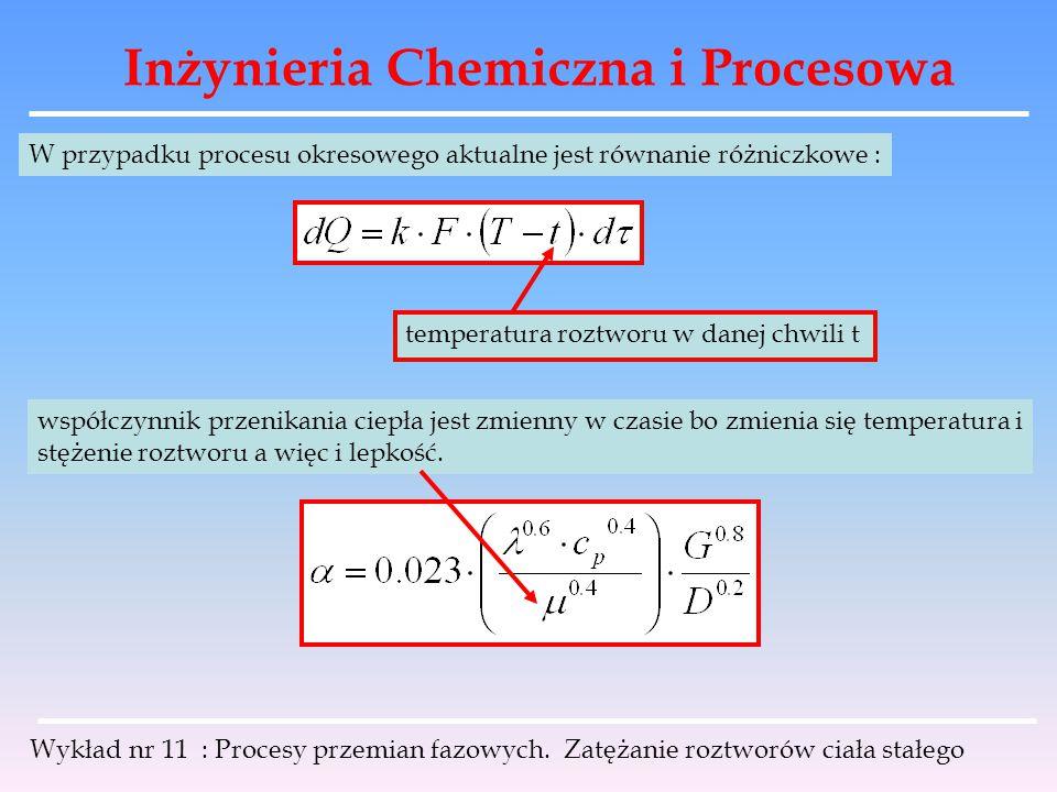 Inżynieria Chemiczna i Procesowa Wykład nr 11 : Procesy przemian fazowych. Zatężanie roztworów ciała stałego W przypadku procesu okresowego aktualne j