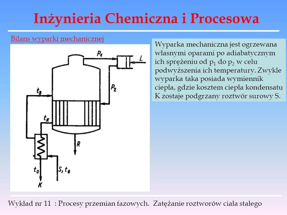 Inżynieria Chemiczna i Procesowa Wykład nr 11 : Procesy przemian fazowych. Zatężanie roztworów ciała stałego Bilans wyparki mechanicznej Wyparka mecha