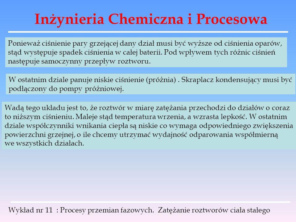 Inżynieria Chemiczna i Procesowa Wykład nr 11 : Procesy przemian fazowych. Zatężanie roztworów ciała stałego Ponieważ ciśnienie pary grzejącej dany dz