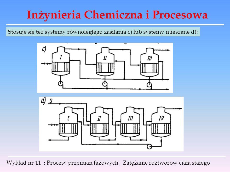 Inżynieria Chemiczna i Procesowa Wykład nr 11 : Procesy przemian fazowych. Zatężanie roztworów ciała stałego Stosuje się też systemy równoległego zasi