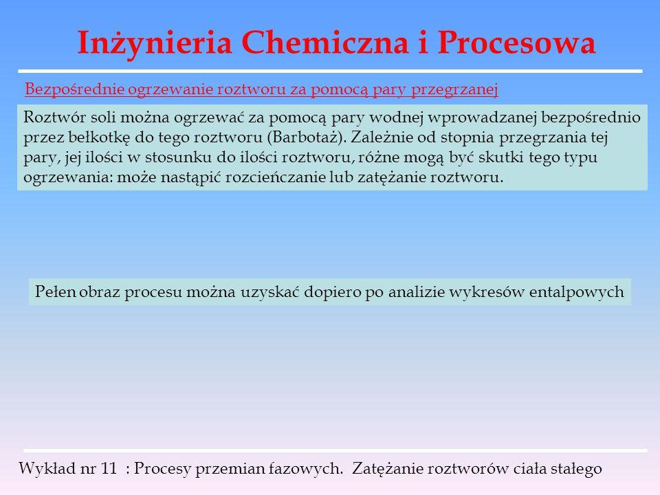 Inżynieria Chemiczna i Procesowa Wykład nr 11 : Procesy przemian fazowych. Zatężanie roztworów ciała stałego Bezpośrednie ogrzewanie roztworu za pomoc