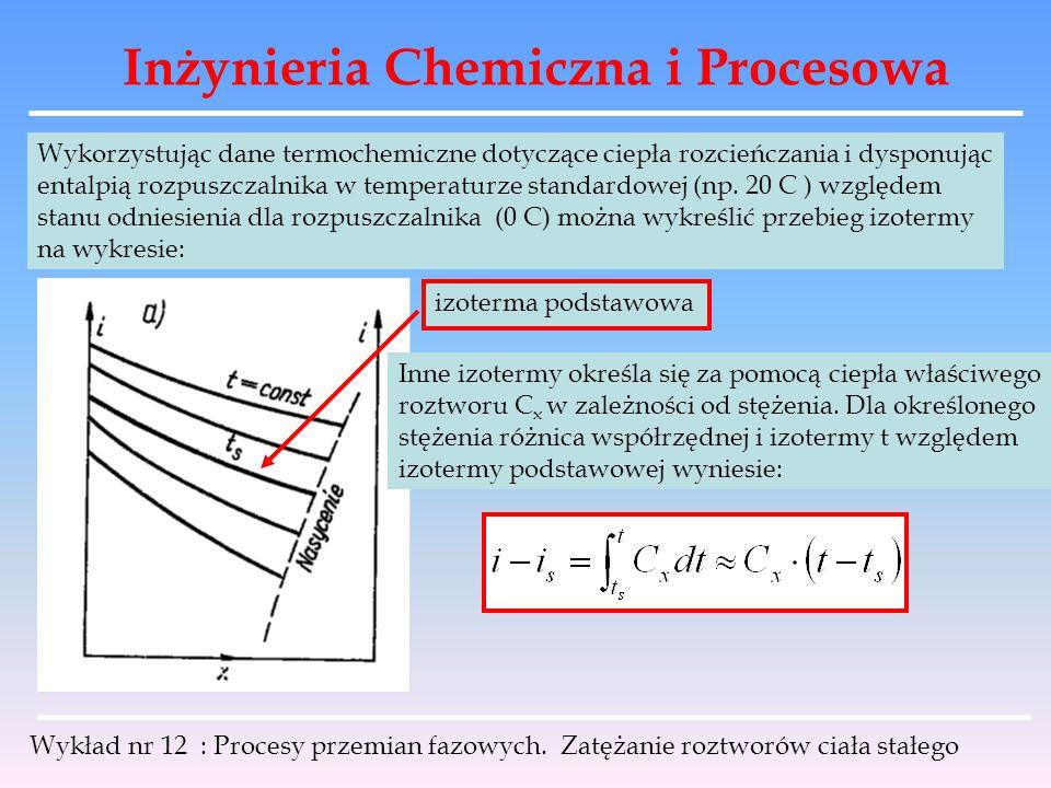 Inżynieria Chemiczna i Procesowa Wykład nr 12 : Procesy przemian fazowych. Zatężanie roztworów ciała stałego Wykorzystując dane termochemiczne dotyczą