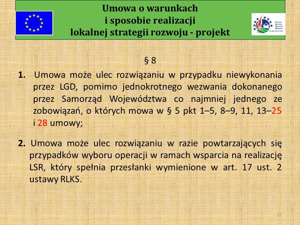Umowa o warunkach i sposobie realizacji lokalnej strategii rozwoju - projekt 20 5.
