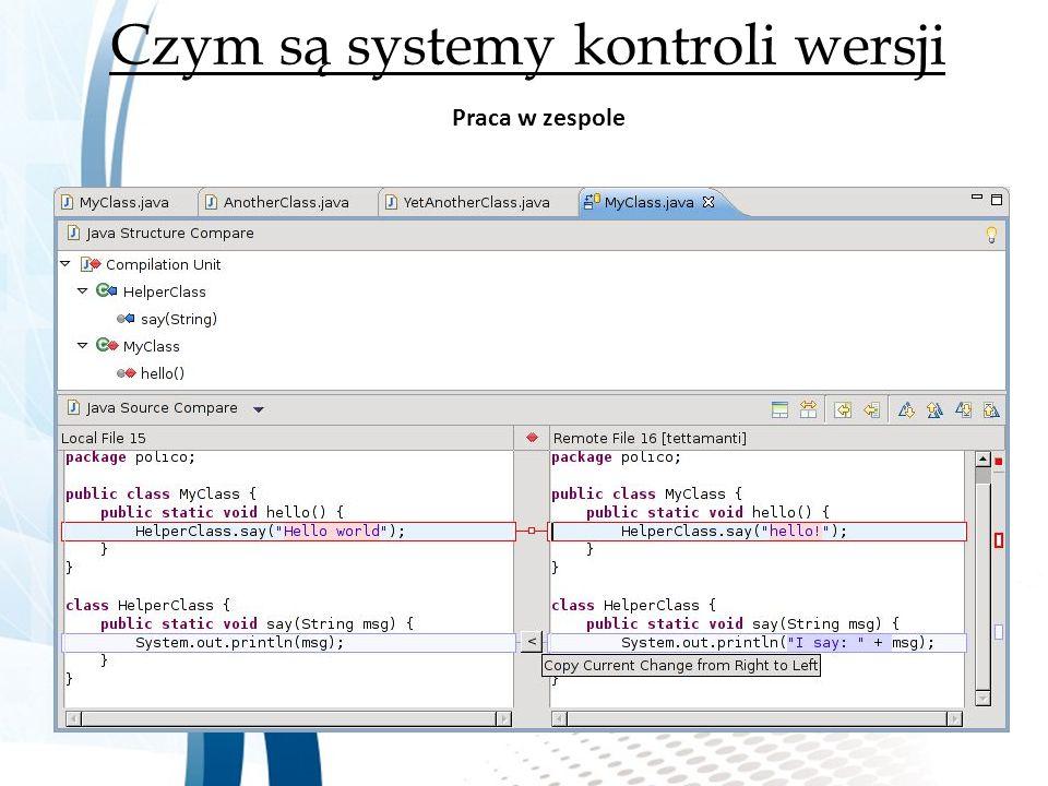 Czym są systemy kontroli wersji Praca w zespole
