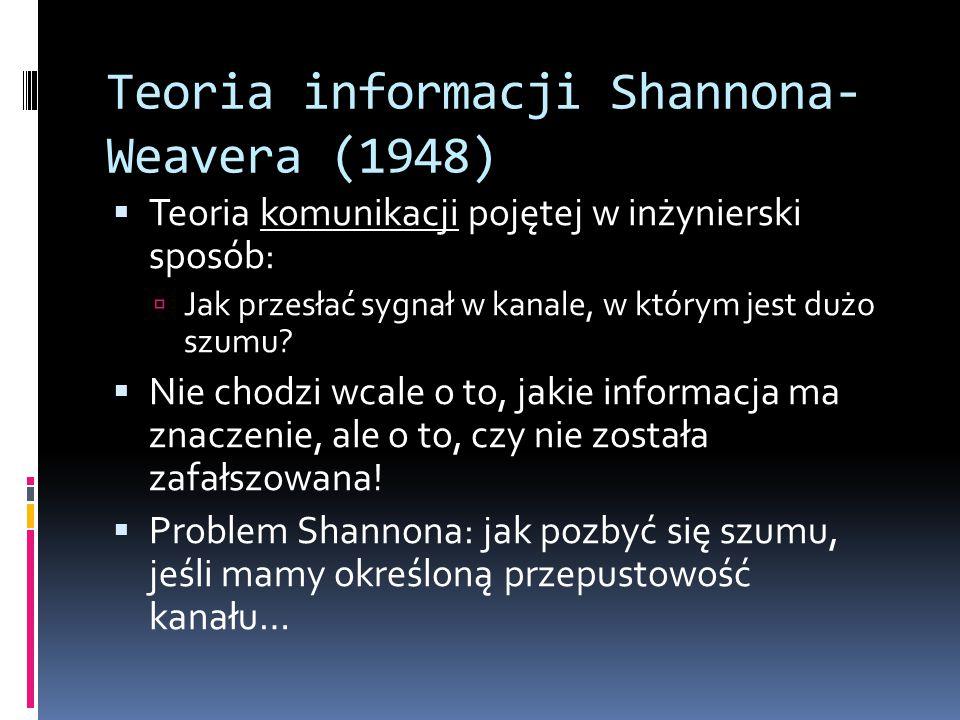 Teoria informacji Shannona- Weavera (1948)  Teoria komunikacji pojętej w inżynierski sposób:  Jak przesłać sygnał w kanale, w którym jest dużo szumu