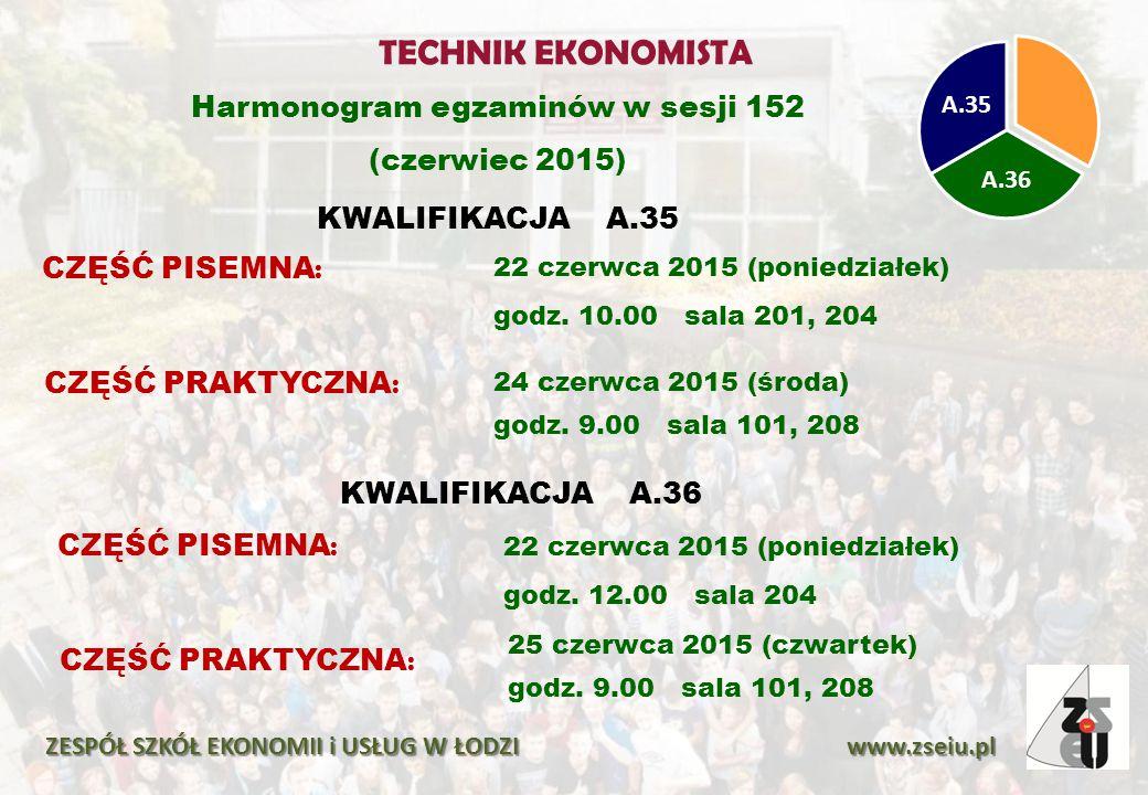 Harmonogram egzaminów w sesji 152 (czerwiec 2015) KWALIFIKACJA A.35 ZESPÓŁ SZKÓŁ EKONOMII i USŁUG W ŁODZI www.zseiu.pl A.36 A.35 CZĘŚĆ PISEMNA : 22 cz