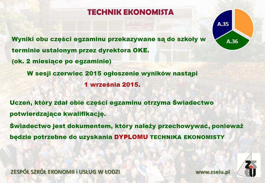 Wyniki obu części egzaminu przekazywane są do szkoły w terminie ustalonym przez dyrektora OKE. (ok. 2 miesiące po egzaminie) W sesji czerwiec 2015 ogł