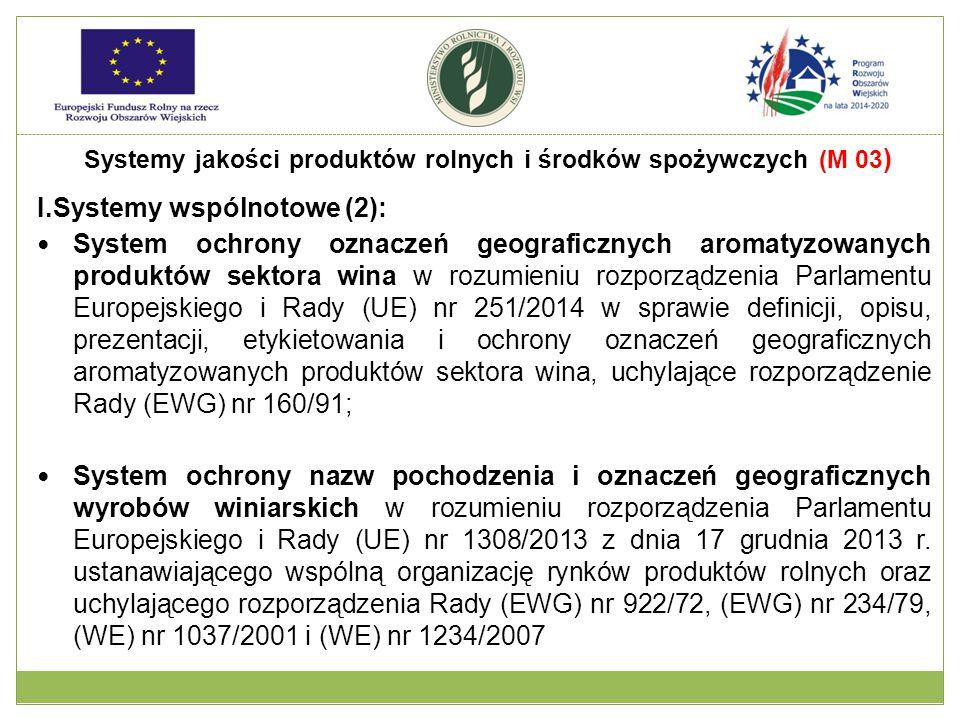I.Systemy wspólnotowe (2): System ochrony oznaczeń geograficznych aromatyzowanych produktów sektora wina w rozumieniu rozporządzenia Parlamentu Europe