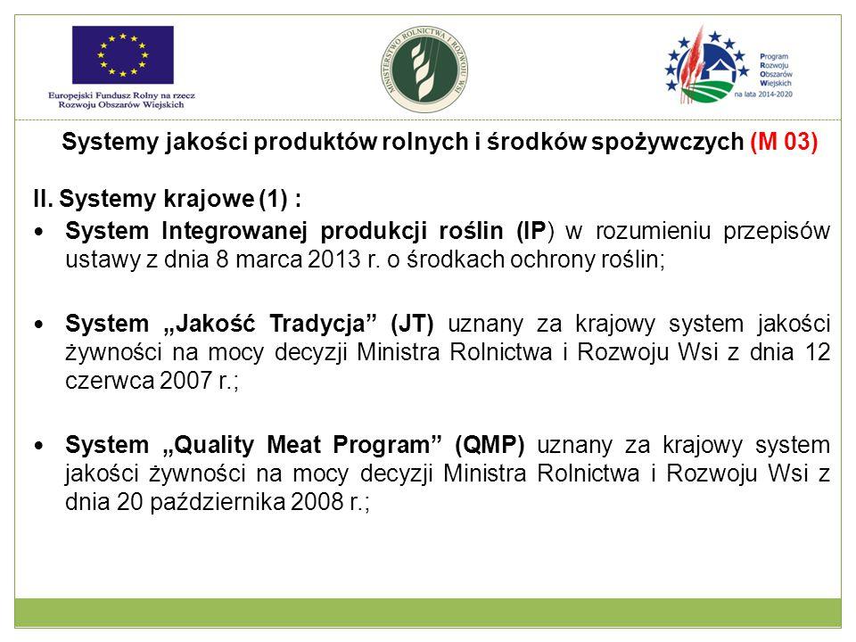 II. Systemy krajowe (1) : System Integrowanej produkcji roślin (IP) w rozumieniu przepisów ustawy z dnia 8 marca 2013 r. o środkach ochrony roślin; Sy