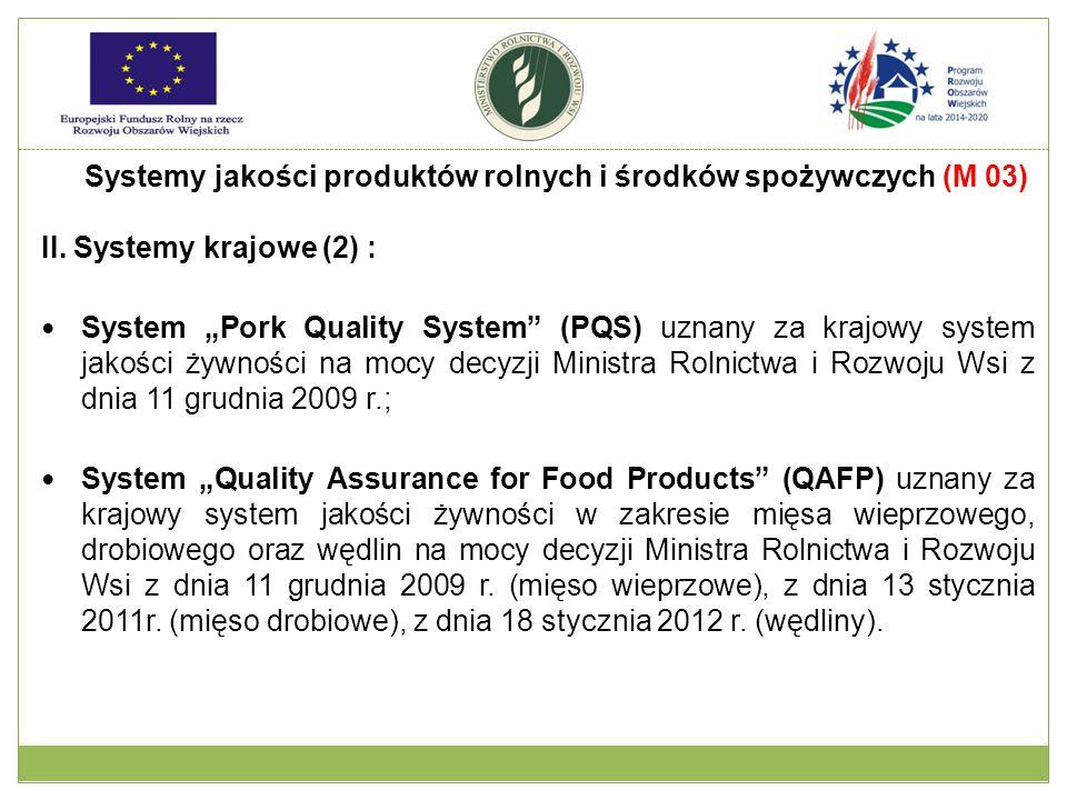 """II. Systemy krajowe (2) : System """"Pork Quality System"""" (PQS) uznany za krajowy system jakości żywności na mocy decyzji Ministra Rolnictwa i Rozwoju Ws"""