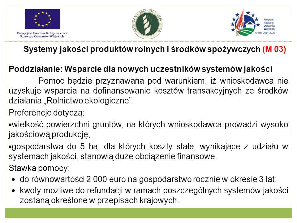 """Poddziałanie: Wsparcie dla nowych uczestników systemów jakości Pomoc będzie przyznawana pod warunkiem, iż wnioskodawca nie uzyskuje wsparcia na dofinansowanie kosztów transakcyjnych ze środków działania """"Rolnictwo ekologiczne ."""