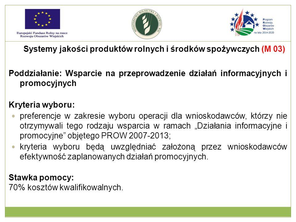 """Poddziałanie: Wsparcie na przeprowadzenie działań informacyjnych i promocyjnych Kryteria wyboru: preferencje w zakresie wyboru operacji dla wnioskodawców, którzy nie otrzymywali tego rodzaju wsparcia w ramach """"Działania informacyjne i promocyjne objętego PROW 2007-2013; kryteria wyboru będą uwzględniać założoną przez wnioskodawców efektywność zaplanowanych działań promocyjnych."""
