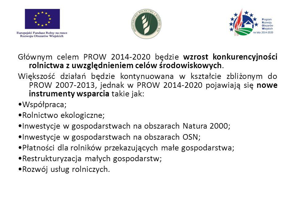 Głównym celem PROW 2014-2020 będzie wzrost konkurencyjności rolnictwa z uwzględnieniem celów środowiskowych.