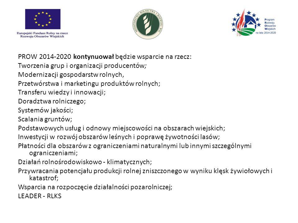PROW 2014-2020 kontynuował będzie wsparcie na rzecz: Tworzenia grup i organizacji producentów; Modernizacji gospodarstw rolnych, Przetwórstwa i marketingu produktów rolnych; Transferu wiedzy i innowacji; Doradztwa rolniczego; Systemów jakości; Scalania gruntów; Podstawowych usług i odnowy miejscowości na obszarach wiejskich; Inwestycji w rozwój obszarów leśnych i poprawę żywotności lasów; Płatności dla obszarów z ograniczeniami naturalnymi lub innymi szczególnymi ograniczeniami; Działań rolnośrodowiskowo - klimatycznych; Przywracania potencjału produkcji rolnej zniszczonego w wyniku klęsk żywiołowych i katastrof; Wsparcia na rozpoczęcie działalności pozarolniczej; LEADER - RLKS