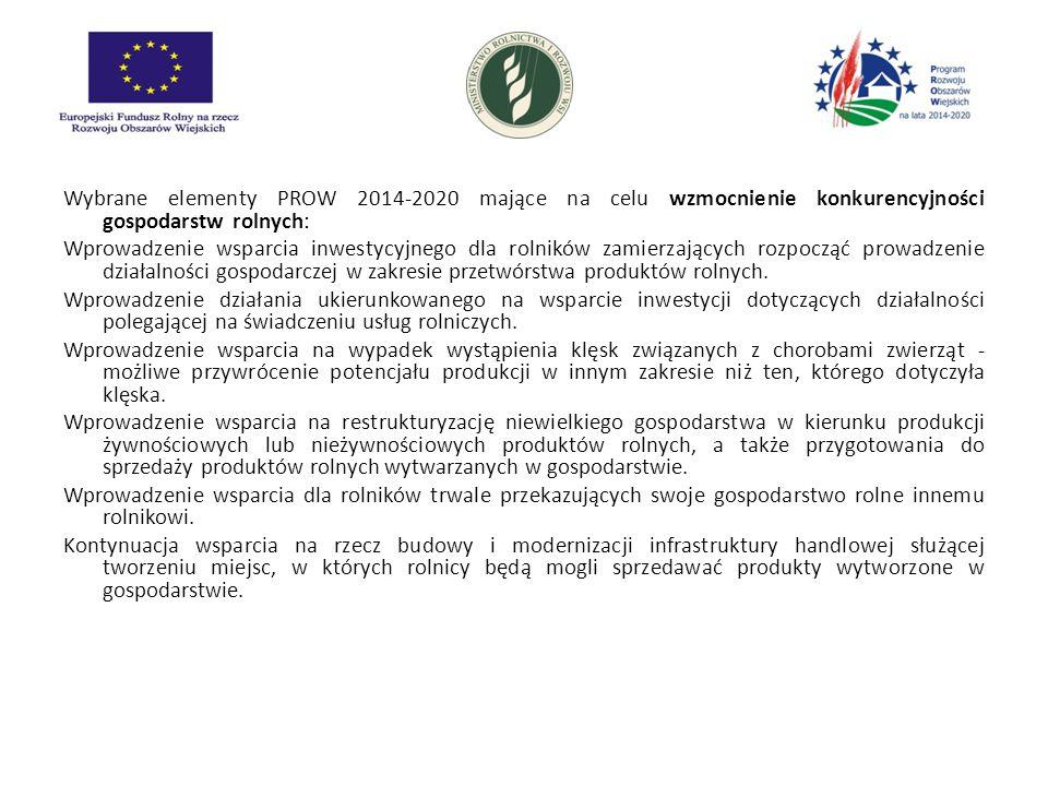 Wybrane elementy PROW 2014-2020 mające na celu wzmocnienie konkurencyjności gospodarstw rolnych: Wprowadzenie wsparcia inwestycyjnego dla rolników zamierzających rozpocząć prowadzenie działalności gospodarczej w zakresie przetwórstwa produktów rolnych.