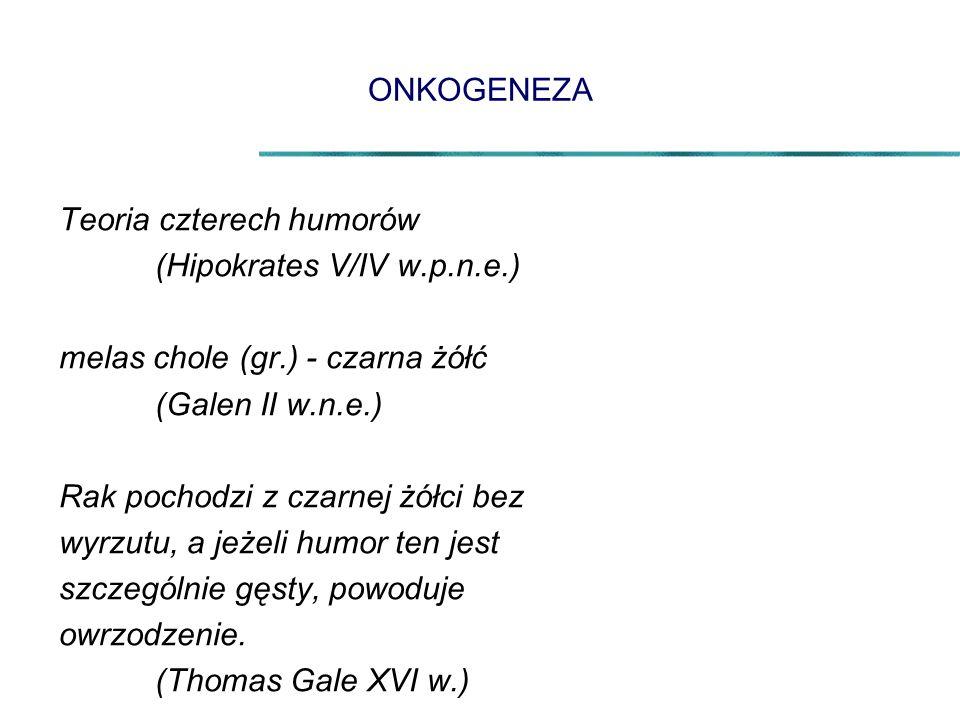 ONKOGENEZA Teoria czterech humorów (Hipokrates V/IV w.p.n.e.) melas chole (gr.) - czarna żółć (Galen II w.n.e.) Rak pochodzi z czarnej żółci bez wyrzu