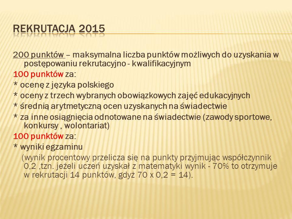 200 punktów – maksymalna liczba punktów możliwych do uzyskania w postępowaniu rekrutacyjno - kwalifikacyjnym 100 punktów za: * ocenę z języka polskieg