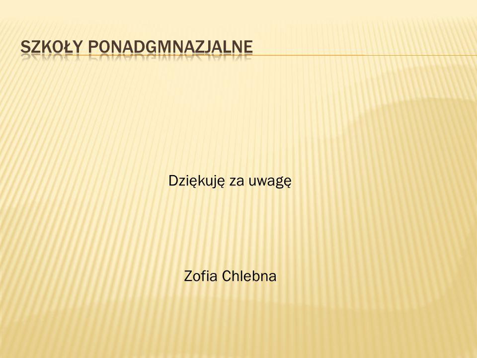 Dziękuję za uwagę Zofia Chlebna
