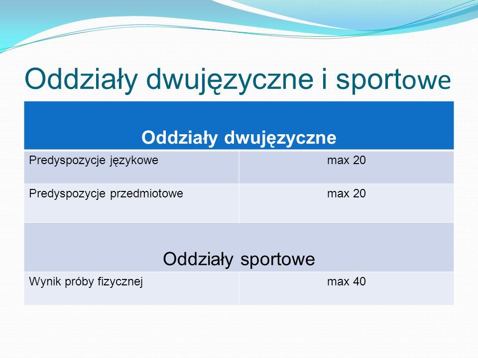Oddziały dwujęzyczne i sport owe Oddziały dwujęzyczne Predyspozycje językowemax 20 Predyspozycje przedmiotowemax 20 Oddziały sportowe Wynik próby fizycznejmax 40