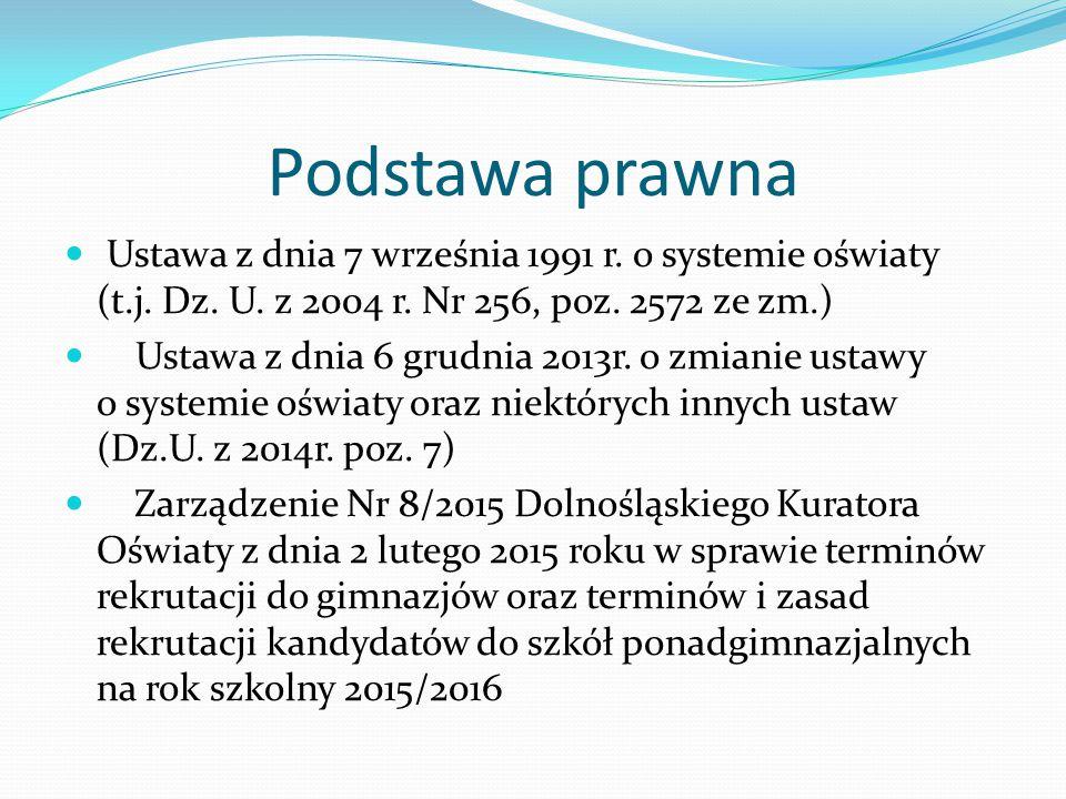 Podstawa prawna Ustawa z dnia 7 września 1991 r. o systemie oświaty (t.j.