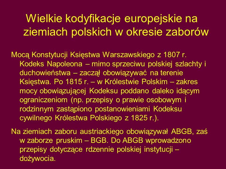 Wielkie kodyfikacje europejskie na ziemiach polskich w okresie zaborów Mocą Konstytucji Księstwa Warszawskiego z 1807 r.